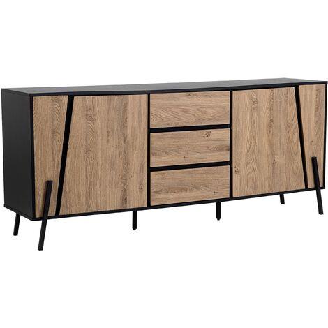 Modern Sideboard Light Wood Black Top Metal Legs Storage Cabinets Drawers Blackpool