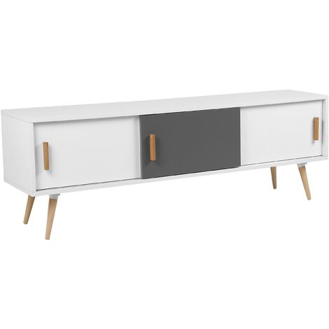 Modern Sideboard Solid Wood TV Stand Cable Management Hole White Grey Indiana