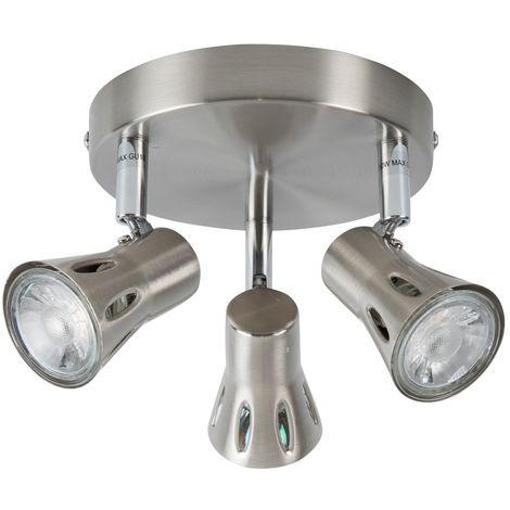 Modern Silver Brushed Chrome 3 Way Spotlight Round Kitchen Ceiling Spot Light