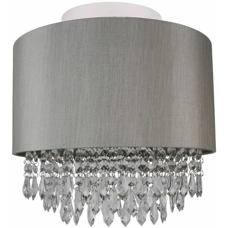 Modern Silver Ceiling Light Flush Shade w/ Matching Inner & Clear Droplet Beads