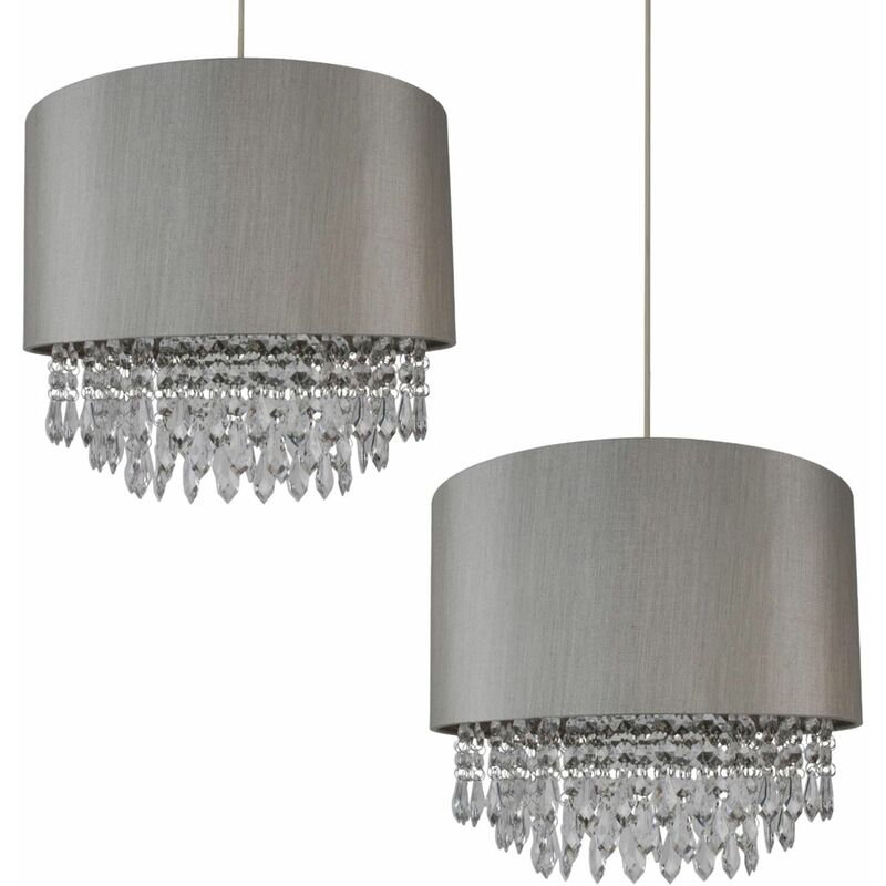 Image of 2 x Modern Silver Ceiling Light Pendant Shades w/ Silver Inner & Clear Droplet Beads - FIRST CHOICE LIGHTING