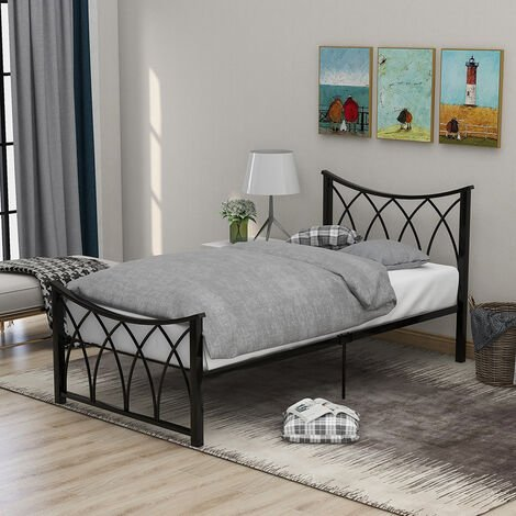 Modern Single Bed Frame 3ft Metal Bed with Headboard for Children Teenager Adults, Black ( 90 x190 cm)