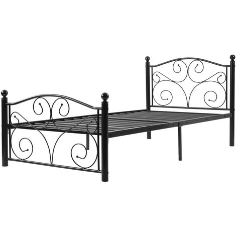 Modern Single Metal Bed Frame Solid 3ft large storage space with Headboard &Footboard, for Adults Kids Teenagers, Black(90*190cm)