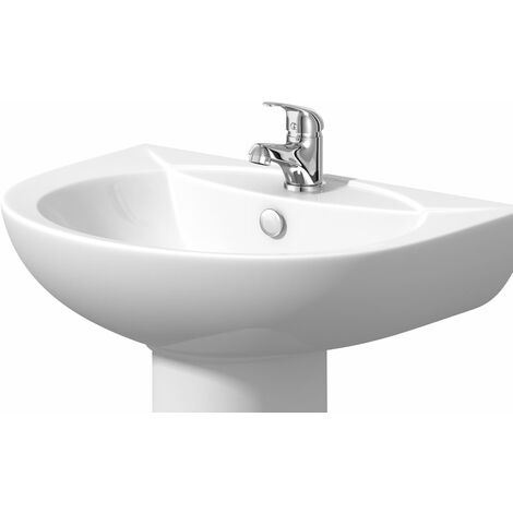 Modern Single Tap Hole Basin Only White Ceramic - Pedestal & Tap Not Included