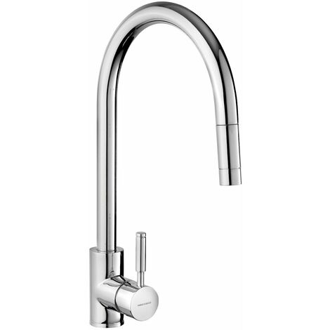 Modern Sink Tap Single Chrome Lever Mono Pull Out Spray Mixer Swivel Spout