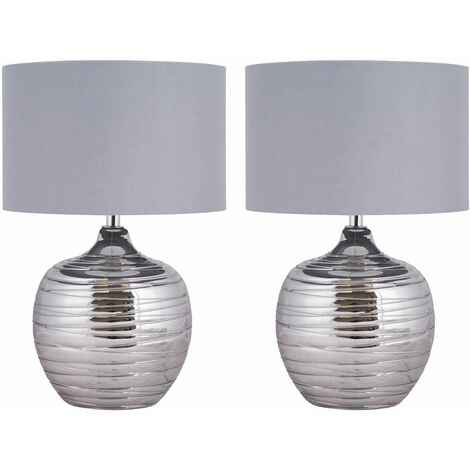 Modern Smoked Metallic Rippled Glass Table Lamp or Bedside Light with Grey Shade