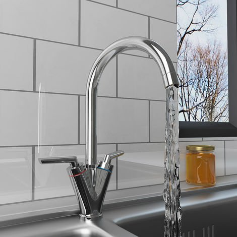 Modern Solid Brass Tap Swivel Spout Twin Dual Lever Kitchen Sink Mixer Faucet Chrome