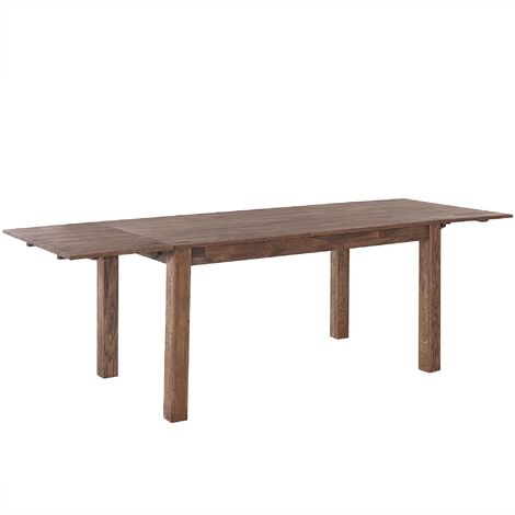 Modern Solid Oak Extending Dining Table Dark Finish Rectangular 150/240 cm Maxima
