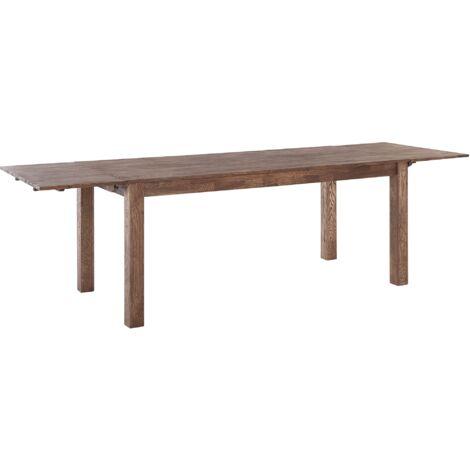 Modern Solid Oak Extending Dining Table Dark Finish Rectangular 180/270 cm Maxima