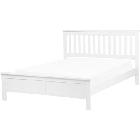 Modern Solid Wood EU Double Size Bed Frame 4ft6 White Slatted Mayenne