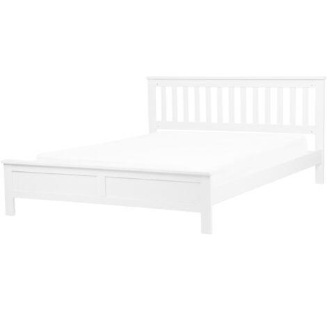 Modern Solid Wood EU King Size Bed Frame 5ft3 White Slatted Mayenne