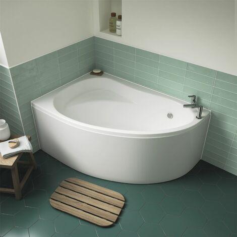 Modern Space Saving Corner Bath Left Hand 1450 x 950 Front Panel Acrylic Bathtub