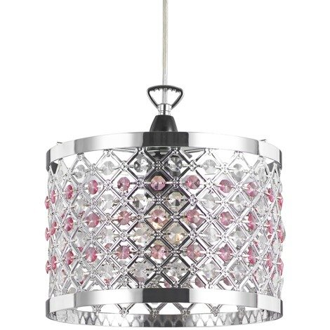 Modern Sparkly Ceiling Pendant Light Shade with Clear and Pink Beads by Happy Homewares