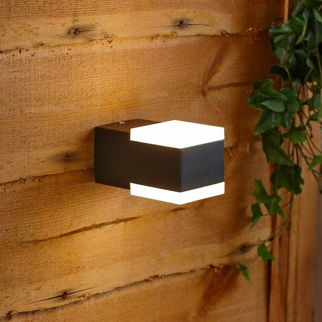 Modern Square Black Outdoor Wall Light Integrated LED Downlight IP54 Garden Door