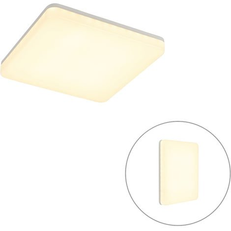 Modern Square Ceiling Lamp White with Twilight Switch incl. LED - Plater