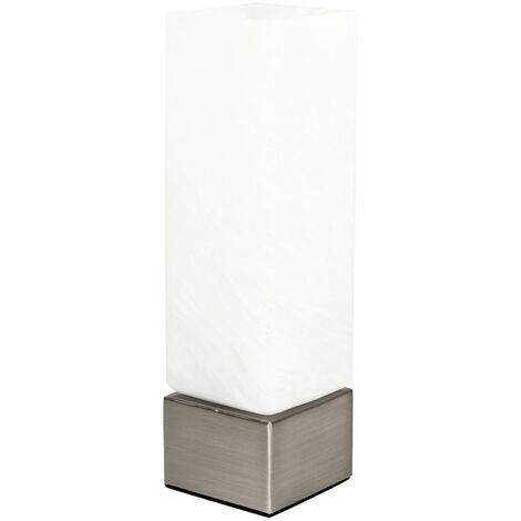 Modern Square & Frosted Glass Touch Table Bedside Lamp + 3W LED Dimmable G9 Bulb