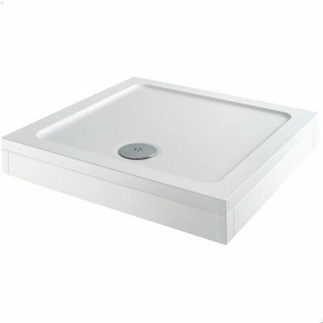 Modern Square Shower Tray 760 x 760mm Easy Plumb Slimline Lightweight White