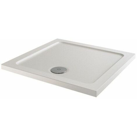 Modern Square Shower Tray 760 x 760mm Low Profile Slimline Lightweight White