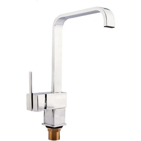 Modern Square Single Lever 360 Swivel Spout Chrome Kitchen Sink Mono Mixer Tap