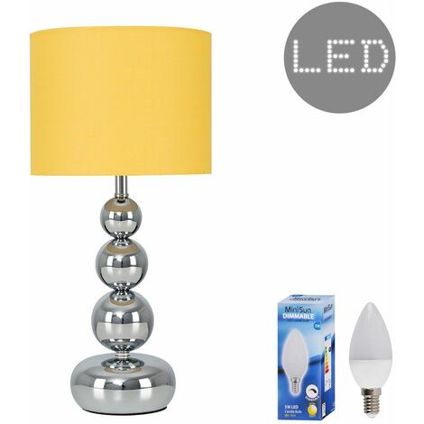 Modern Stacked Balls Touch Table Lamp with a Cotton Shade + LED Dimmable Candle Bulb