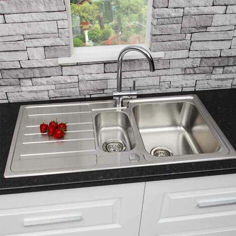 "main image of ""Modern Stainless Steel 1.5 Bowl Reversible Drainer Kitchen Sink Basket Wastes"""