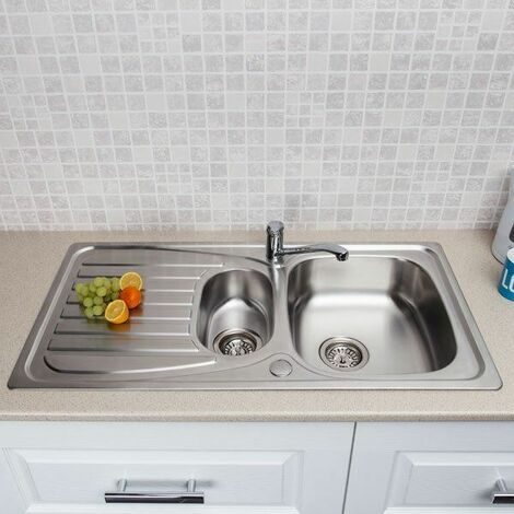 Modern Stainless Steel Kitchen Sink 1.5 Bowl Drainer + FREE Wastes