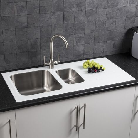 Modern Stainless Steel Kitchen Sink White Glass Surround Drainer