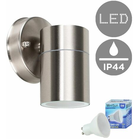 Modern Stainless Steel Outdoor Down Wall Light - Ip44 Rated + GU10 LED Bulb - - Silver