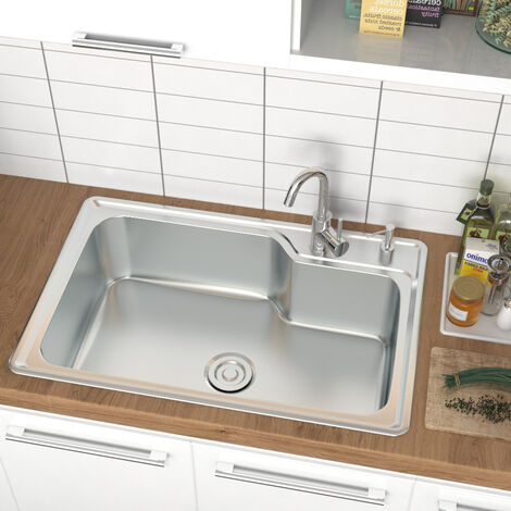 """main image of """"Modern Stainless Steel Single Bowl Catering Kitchen Sink Drainer Waste Kits"""""""