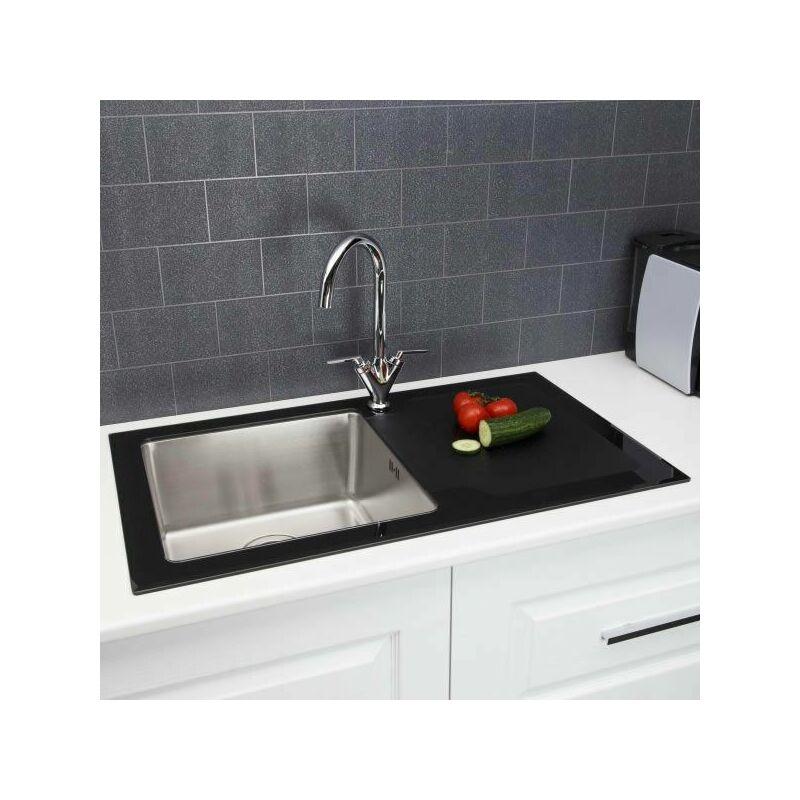 Single Bowl Kitchen Sink Black Gl