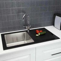 Modern Stainless Steel Single Bowl Kitchen Sink Black Glass Surround