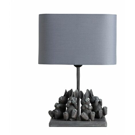 Modern Stone Effect Playing Bears Design Table Lamp + Grey Shade 4w LED Bulb Warm White