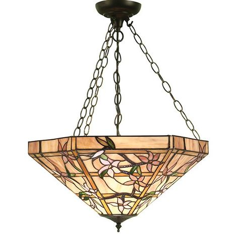Modern Style Ceiling Pendant Multi Coloured Stained Glass And Steel Chain