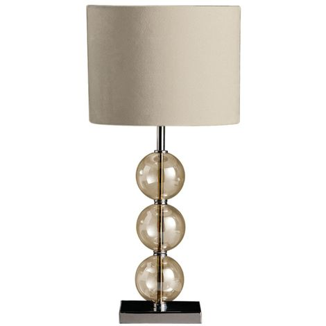 Modern Style Chrome Base Table Lamp Cream Suede Effect Shade