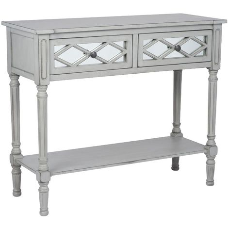 Modern Style Grey Mirrored Pine Wooden Console Table With 2 Storage Drawers