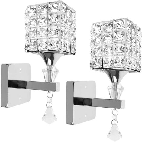 """main image of """"Modern Style Wall Lamp Crystal Wall Light Elegant Creative Crystal Wall Sconce with Power Pull Switch E14 Socket Silver(2 piece)"""""""