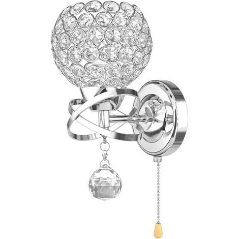Modern Style Wall Lamp Crystal Wall Light Holder with Power Pull Switch Crystal Wall Sconce E14 Socket Silver