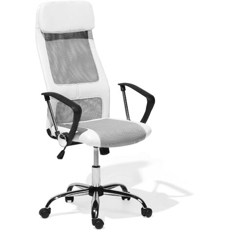 Modern Swivel Adjustable Height Office Computer Chair White with Grey Pioneer