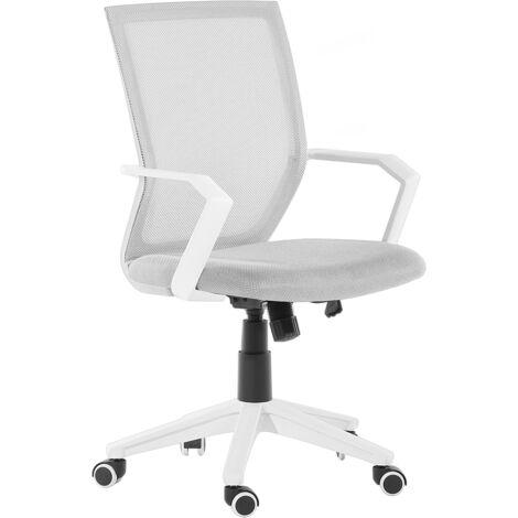 Modern Swivel Desk Chair Light Grey Mesh Office Castors Adjustable Relief