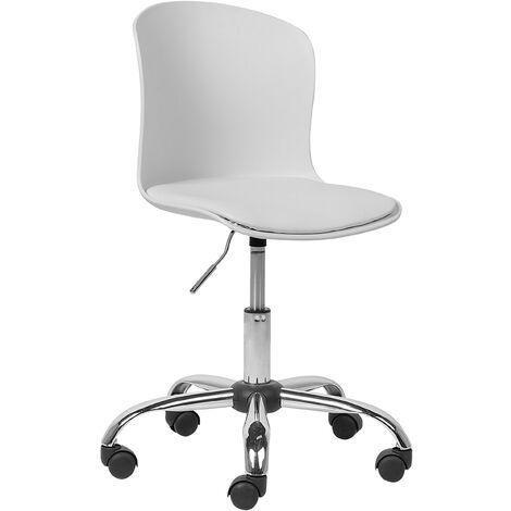 "main image of ""Modern Swivel White Desk Chair Faux Leather Seat Chrome Leg Gas Lift Vamo"""