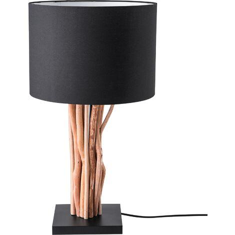 Modern Table Bedside Lamp Light Natural Wood Base Black Aparima