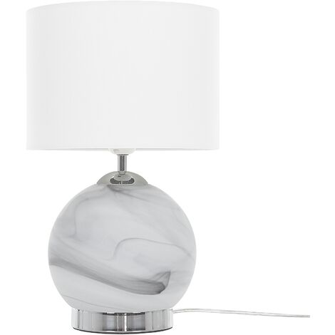 Modern Table Bedside Lamp Round White Fabric Drum Shade Glass Base Uele