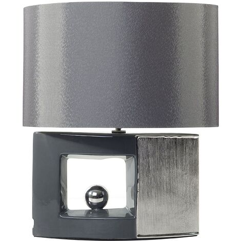 Modern Table Lamp Bedside Faux Silk Grey Drum Shade Silver Porcelain Base Duero