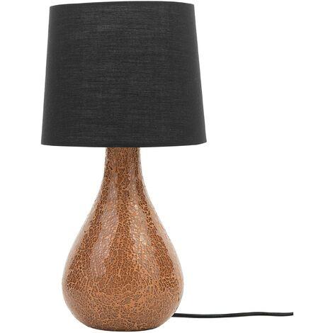 Modern Table Lamp Bedside Light Copper Base Black Drum Shade Abrams