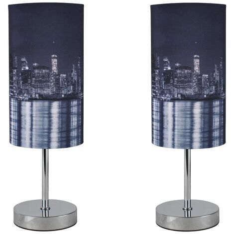Modern Table Lamp Bedside Light Digital Printed Fabric New York Skyline At Night