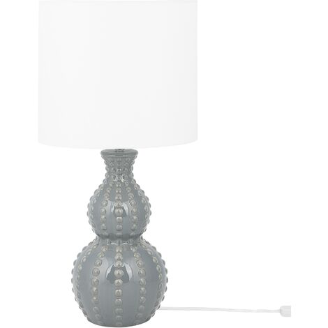 Modern Table Lamp Bedside Light Fabric Shade Caramic Base Grey and White Trisanna