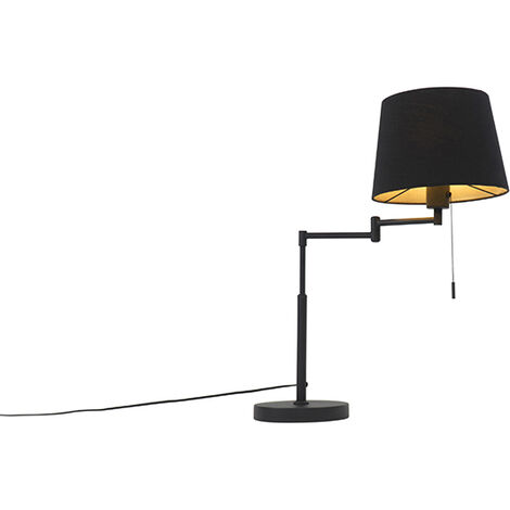 Modern table lamp black with black shade and adjustable arm - Bear
