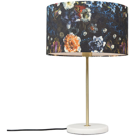 Modern table lamp brass with flora shade 35 cm - Kaso