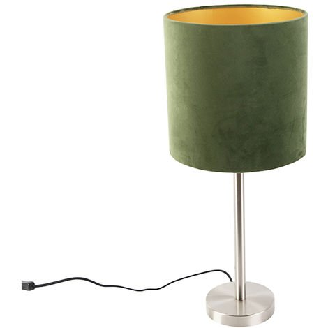 Modern Table Lamp Steel with 25cm Velvet Green Shade - Simplo