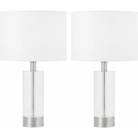 Modern Tall Crystal Table Lamps Bedside Lights Satin Brass or Chrome White Shade